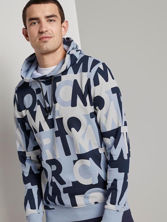 Hoodie mit ganzflächigem Logo-Print - Männer - blue navy wording design - 5 - TOM TAILOR