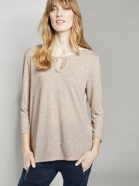 3/4 Arm Shirt mit Spitzeneinsatz - Frauen - sand beige melange - 5 - TOM TAILOR