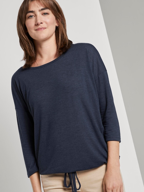 3/4 Arm Jersey mit Spitzendetail - Frauen - Sky Captain Blue Non-Solid - 5 - TOM TAILOR