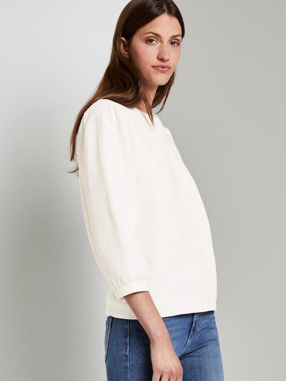 Strukturiertes Sweatshirt mit Ballonärmeln - Frauen - Whisper White - 5 - TOM TAILOR
