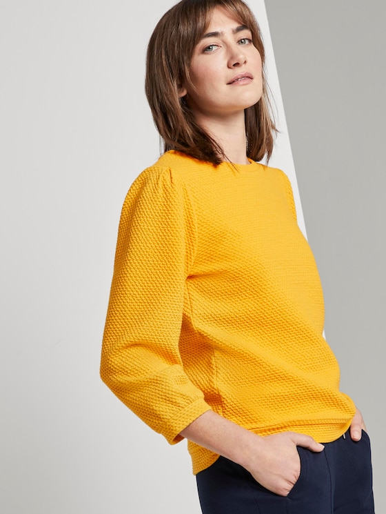 Strukturiertes Sweatshirt mit Ballonärmeln - Frauen - deep golden yellow - 5 - TOM TAILOR