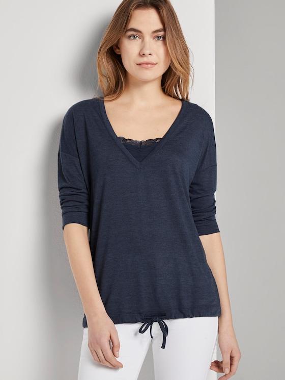 3/4 Arm Shirt mit Spitzeneinsatz - Frauen - Sky Captain Blue Non-Solid - 5 - TOM TAILOR