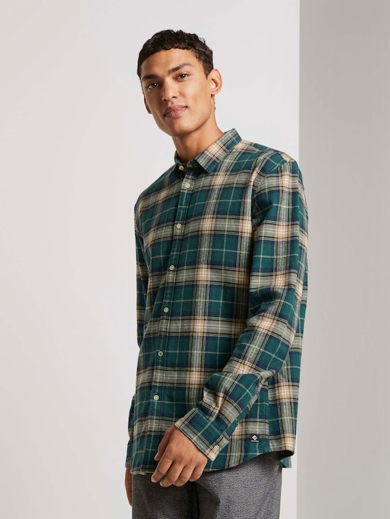 Kariertes Hemd - Männer - green multicolor check - 5 - TOM TAILOR Denim