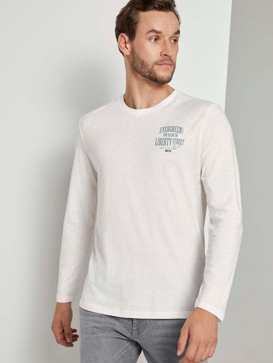 Langarmshirt mit Brustprint - Männer - Light Marsmallow - 5 - TOM TAILOR