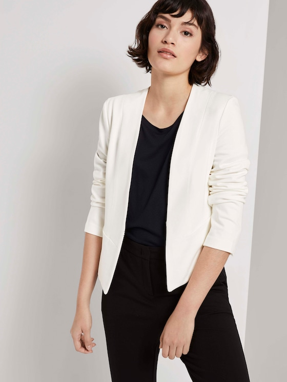 Kragenloser Jersey-Blazer  - Frauen - Whisper White - 5 - Mine to five
