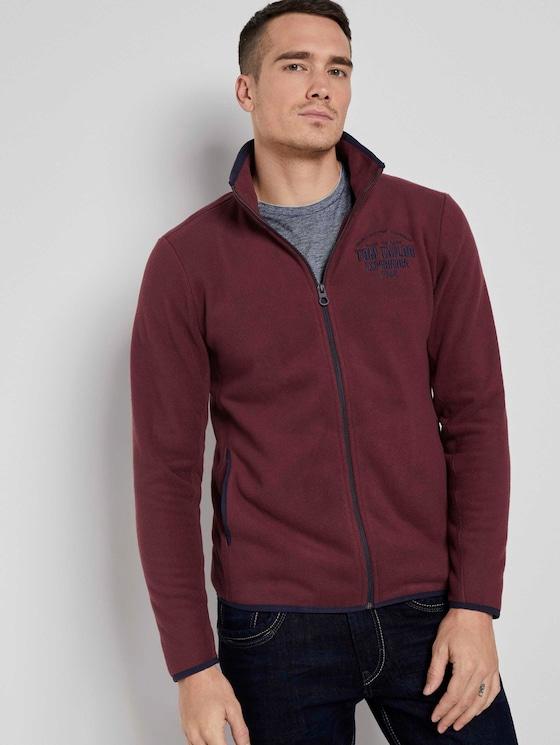 Fleece jas met opstaande kraag - Mannen - Dusty Wildberry Red - 5 - TOM TAILOR