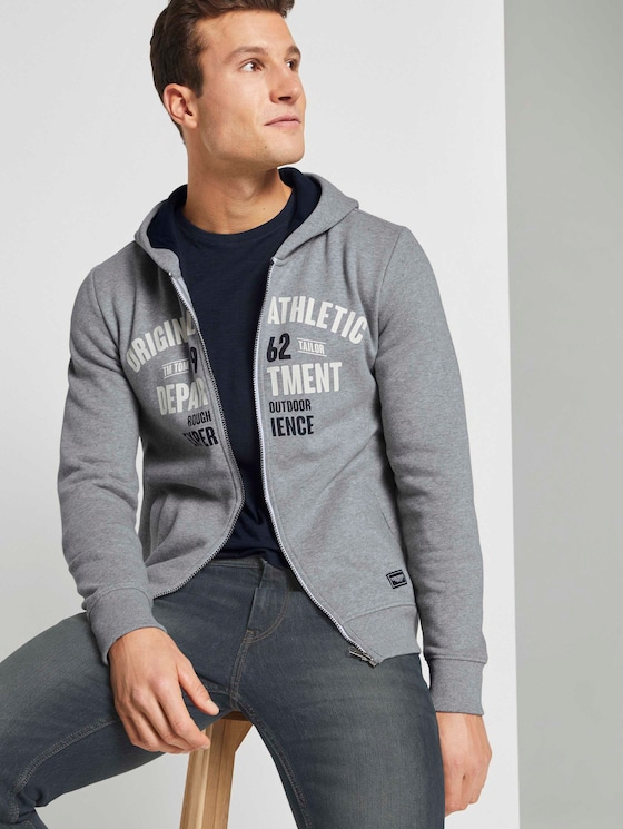 Sweatvest met print - Mannen - Middle Grey Melange - 5 - TOM TAILOR