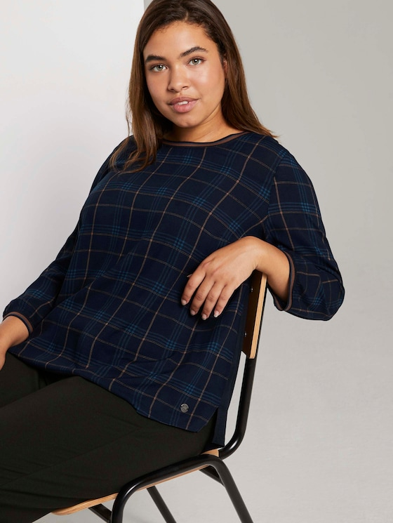 3/4-sleeved shirt in a mix of materials - Women - navy bold printed check - 5 - My True Me