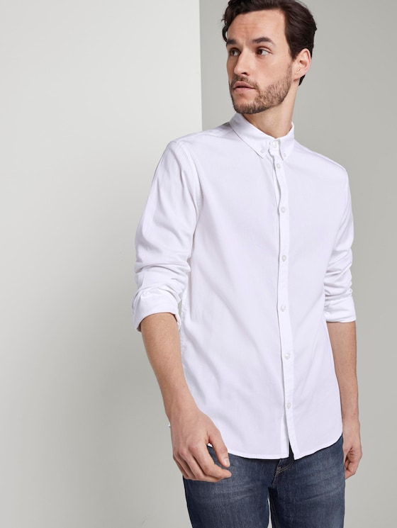 Basic shirt with a button-down collar - Men - White - 5 - TOM TAILOR