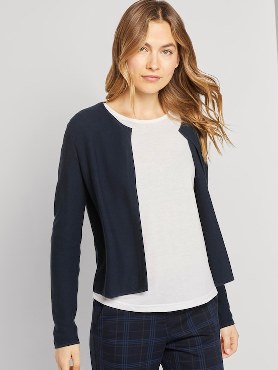 Kurzer Strick-Cardigan - Frauen - Sky Captain Blue - 5 - TOM TAILOR