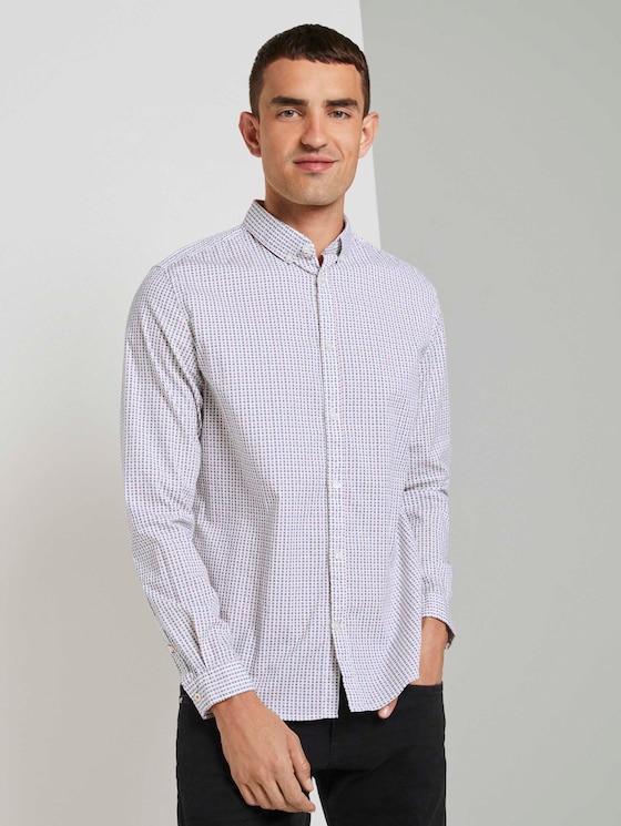 Slim fit overhemd met tekening - Mannen - white colourful squares design - 5 - TOM TAILOR