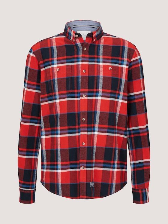 Kariertes Hemd mit Brusttaschen - Männer - red blue shades check - 7 - TOM TAILOR