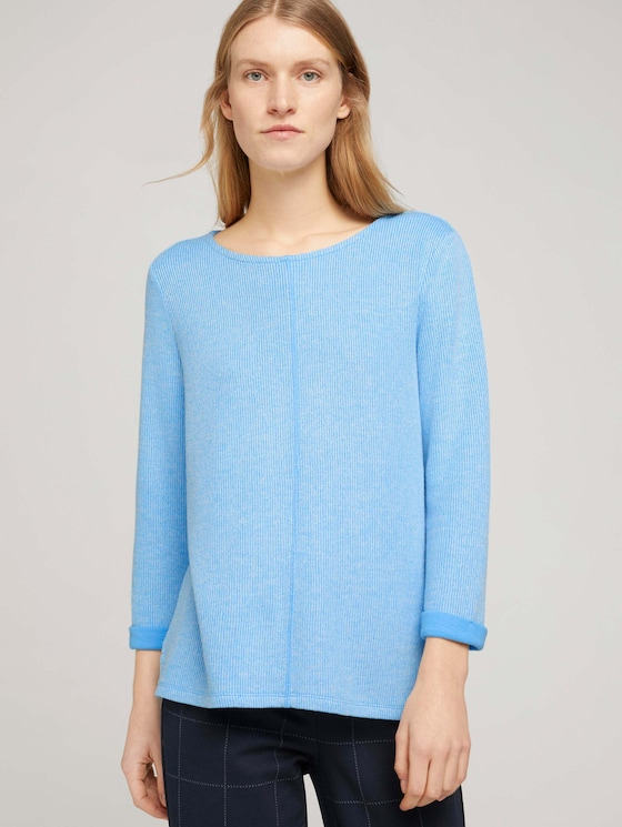 Sweatshirt mit melierter Innenseite - Frauen - soft cloud blue melange - 5 - TOM TAILOR