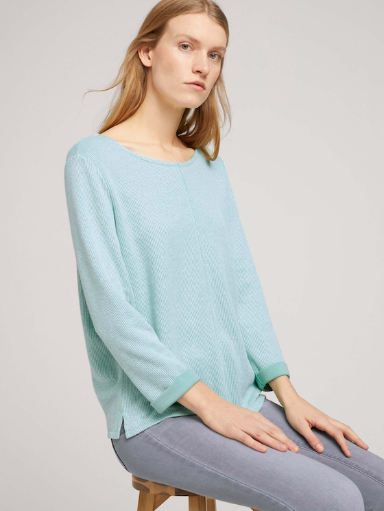 Sweatshirt mit melierter Innenseite - Frauen - soft leaf green melange - 5 - TOM TAILOR