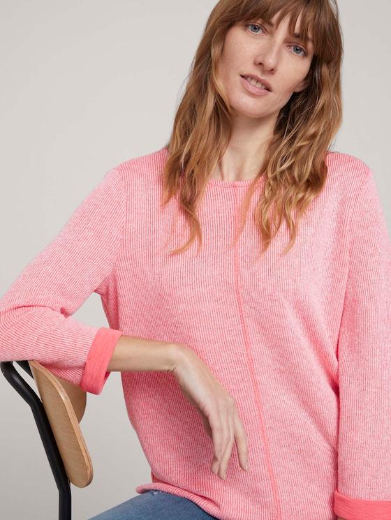 Sweatshirt mit melierter Innenseite - Frauen - strong peach melange - 5 - TOM TAILOR