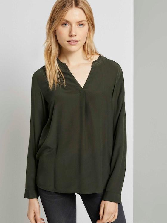 Bluse mit Rüschendetail - Frauen - Dark Rosin Green - 5 - TOM TAILOR