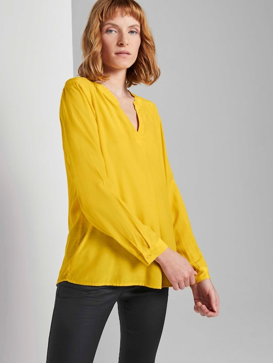 Blouse met ruches Detail - Vrouwen - california sand yellow - 5 - TOM TAILOR