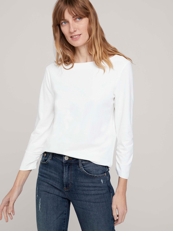Basic T-Shirt mit gerafften Ärmeln - Frauen - Whisper White - 5 - TOM TAILOR