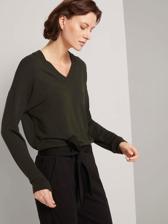 Langarmshirt mit V-Ausschnitt - Frauen - Dark Rosin Green - 5 - TOM TAILOR