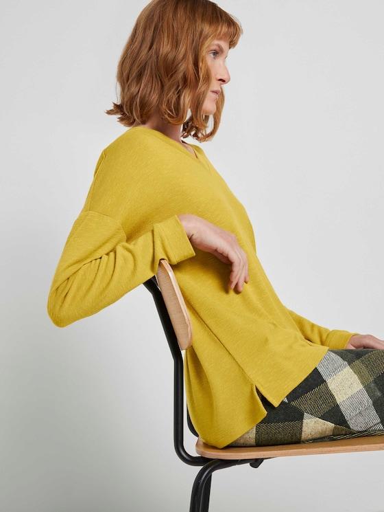 Langarmshirt mit V-Ausschnitt - Frauen - california sand yellow - 5 - TOM TAILOR