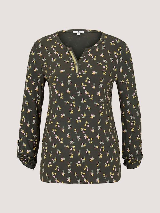 Gemustertes Henley-Shirt - Frauen - dark rosin floral design - 7 - TOM TAILOR
