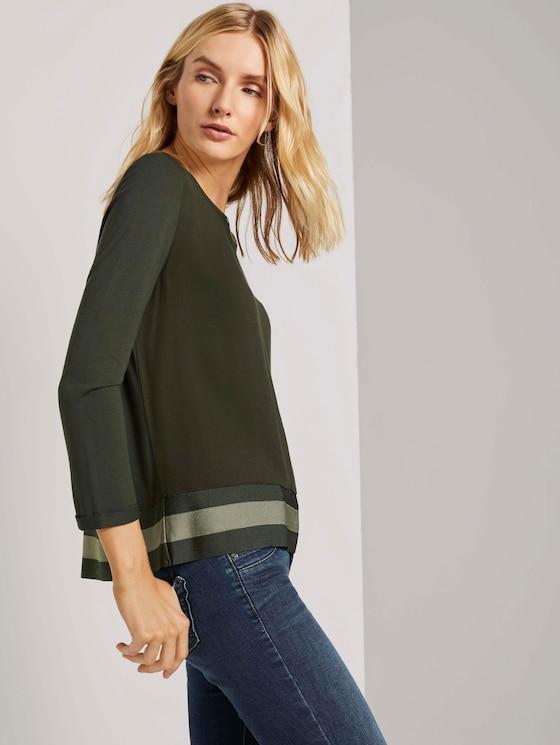 Overhemd met 3/4 mouwen in materiaalmix - Vrouwen - Dark Rosin Green - 5 - TOM TAILOR