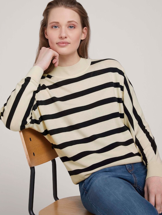Strickpullover aus Bio-Baumwolle   - Frauen - big creme navy stripe - 5 - TOM TAILOR Denim