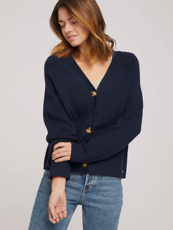 Cardigan mit V-Ausschnitt - Frauen - Real Navy Blue - 5 - TOM TAILOR Denim