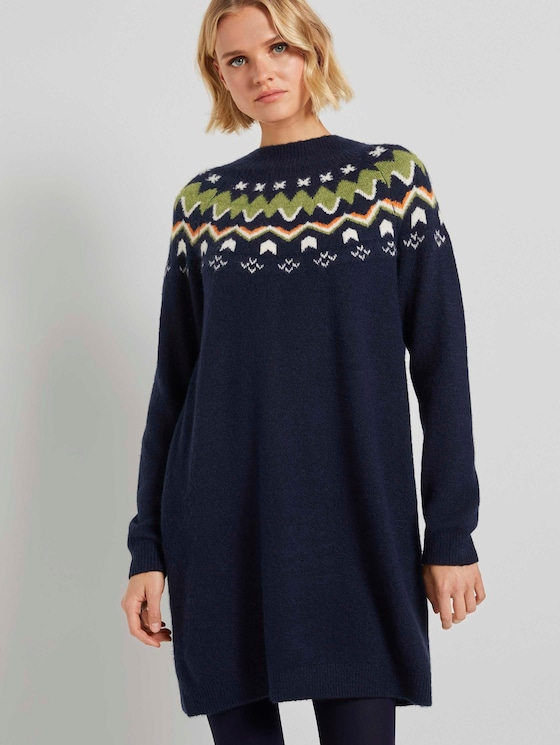 Mini knit-dress with a Shetland print - Women - Real Navy Blue - 5 - TOM TAILOR Denim