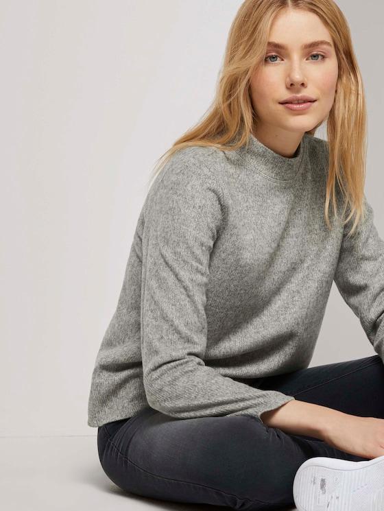 Meliertes Sweatshirt mit Stehkragen - Frauen - Silver Grey Melange - 5 - TOM TAILOR