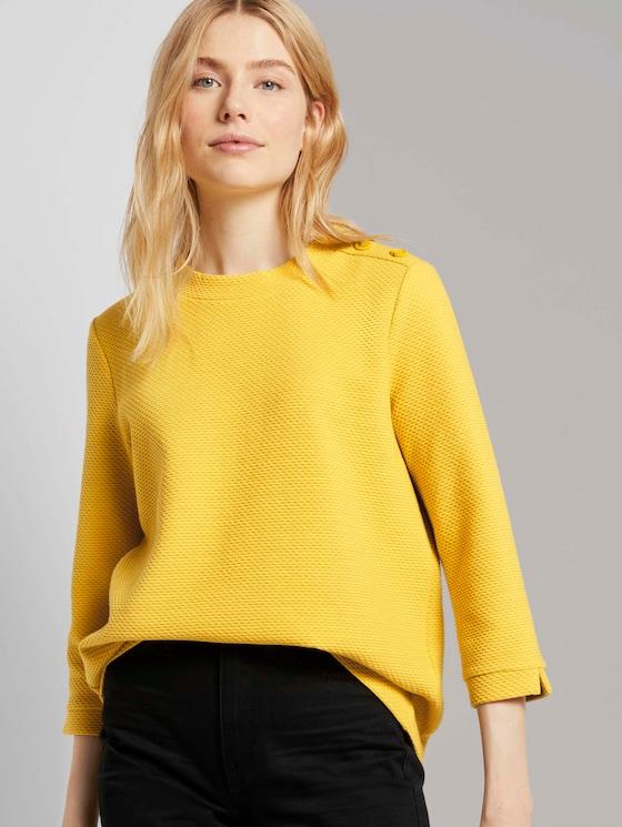 Stehkragen-Sweatshirt mit Knopfdetail - Frauen - california sand yellow - 5 - TOM TAILOR