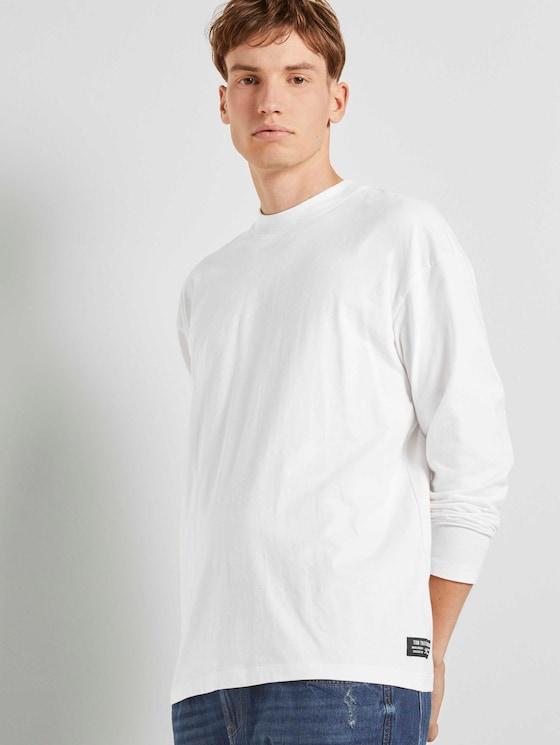 Langarmshirt mit Stehkragen - Männer - Wool White - 5 - TOM TAILOR Denim