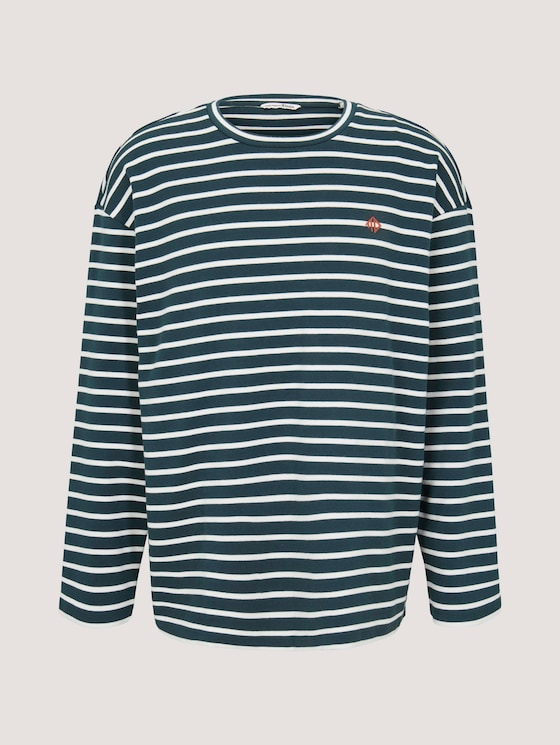 Gestreiftes Langarmshirt - Männer - green white yd stripe - 7 - TOM TAILOR Denim