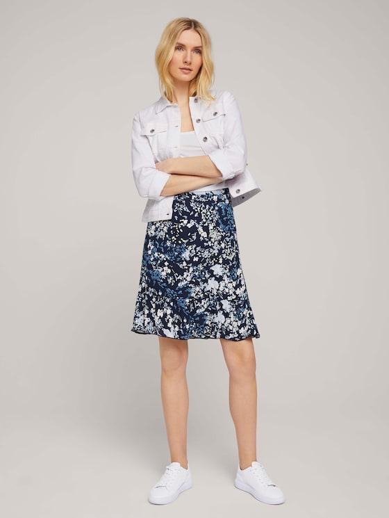 Volant Rock mit Blumenmuster - Frauen - navy bigger flower design - 3 - TOM TAILOR