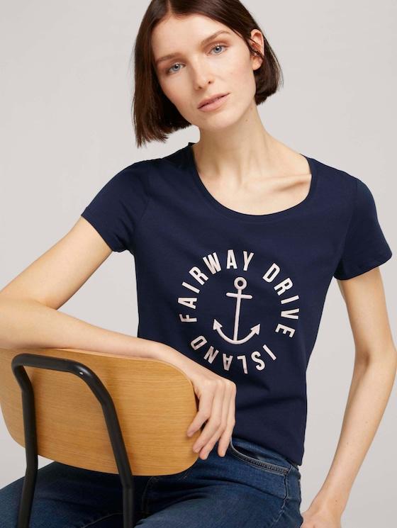 Besticktes T-Shirt - Frauen - Real Navy Blue - 5 - TOM TAILOR Denim
