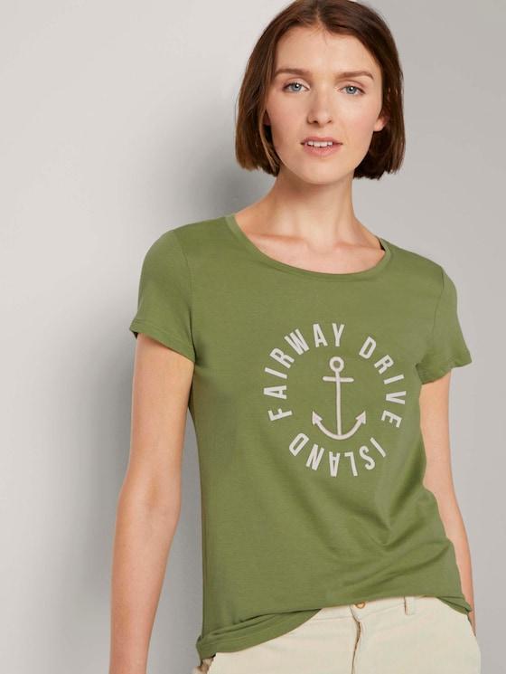 Besticktes T-Shirt - Frauen - moss green - 5 - TOM TAILOR Denim