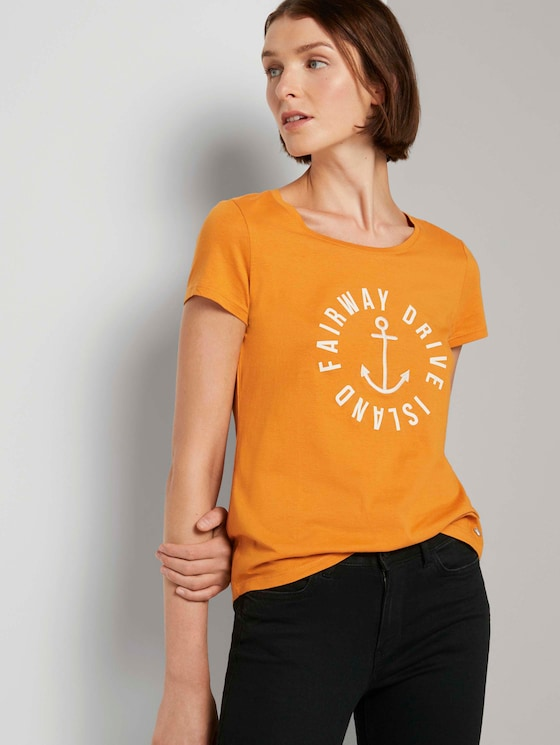 Embroidered T-shirt - Women - orange yellow - 5 - TOM TAILOR Denim