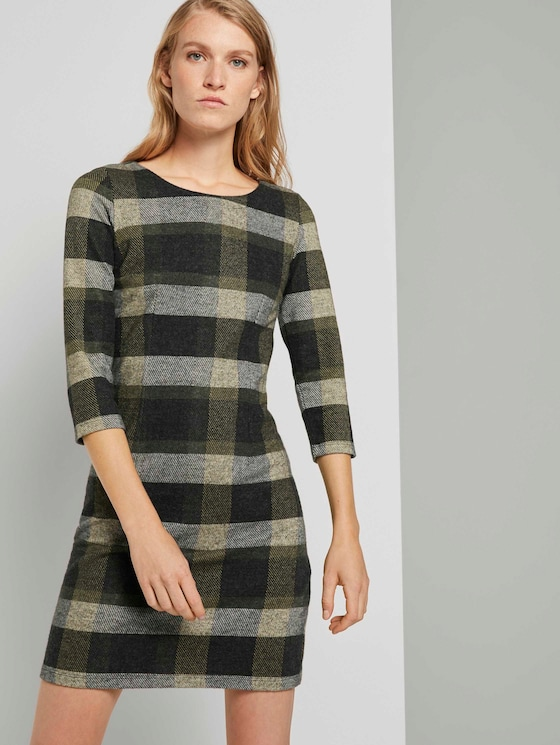 Gemustertes Jerseykleid - Frauen - black yellow check knitted - 5 - TOM TAILOR