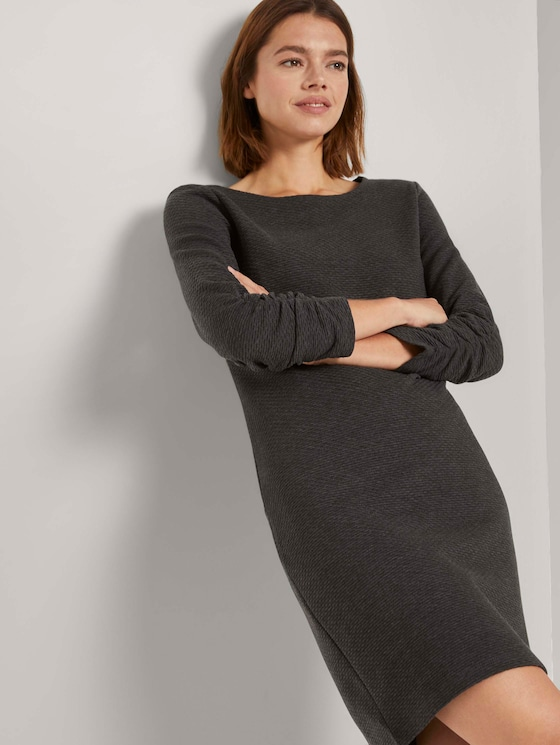 Meliertes Minikleid mit Ärmeldetail - Frauen - Shale Grey Melange - 5 - TOM TAILOR Denim