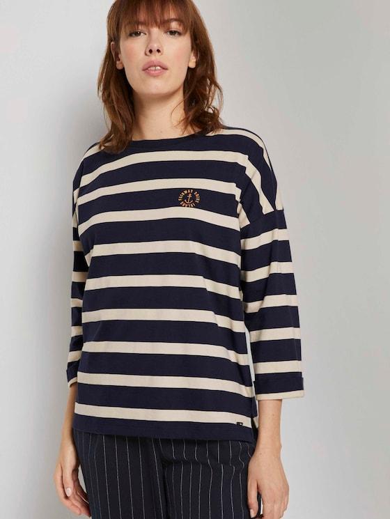 Lockeres Streifenshirt mit Stickerei - Frauen - big navy creme stripe - 5 - TOM TAILOR Denim