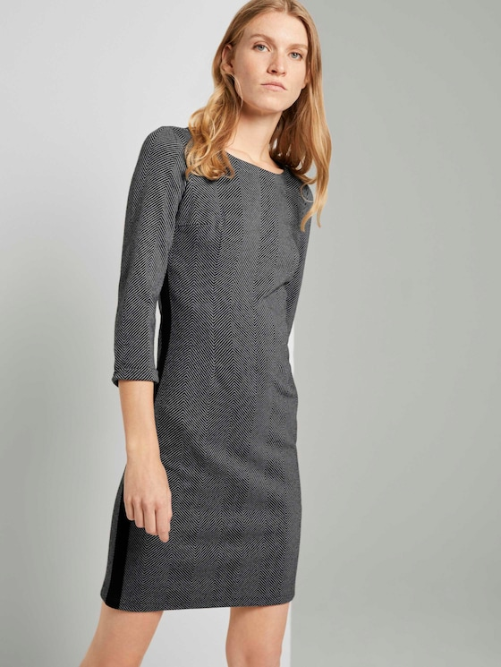 Herringbone Print Schede Jurk - Vrouwen - dark grey herringbone - 5 - TOM TAILOR