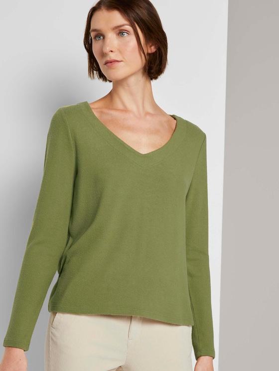 Weicher Pullover mit V-Ausschnitt - Frauen - moss green - 5 - TOM TAILOR Denim