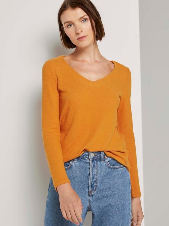Zachte trui met V-hals - Vrouwen - orange yellow - 5 - TOM TAILOR Denim