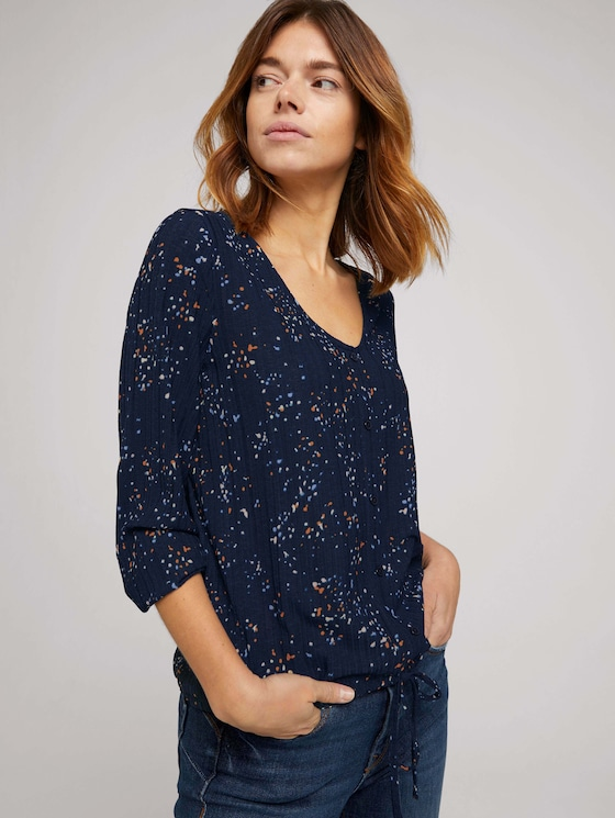 Bluse mit V-Ausschnitt - Frauen - blue dot print - 5 - TOM TAILOR Denim