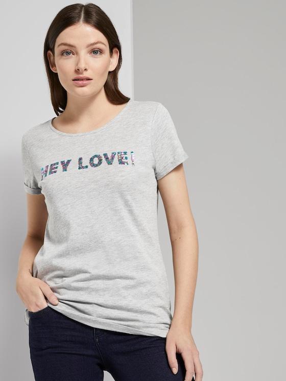 T-Shirt mit Pailletten-Schriftzug - Frauen - Light Silver Grey Mélange - 5 - TOM TAILOR Denim