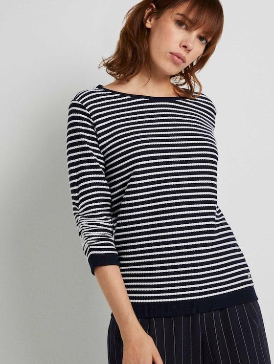 Gestreiftes Slim Fit Sweatshirt - Frauen - blue beige stripe - 5 - TOM TAILOR Denim