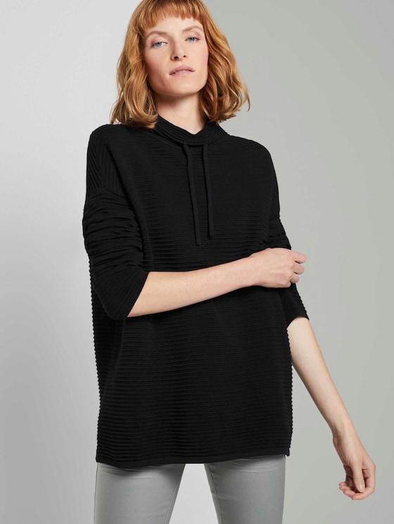 Ottoman Pullover mit Stehkragen - Frauen - Deep Black - 5 - TOM TAILOR