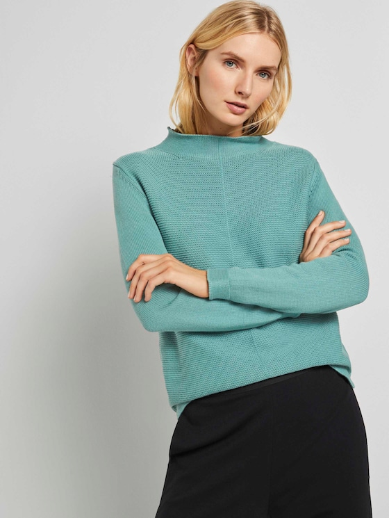 Strukturierter Pullover - Frauen - Salvia - 5 - TOM TAILOR