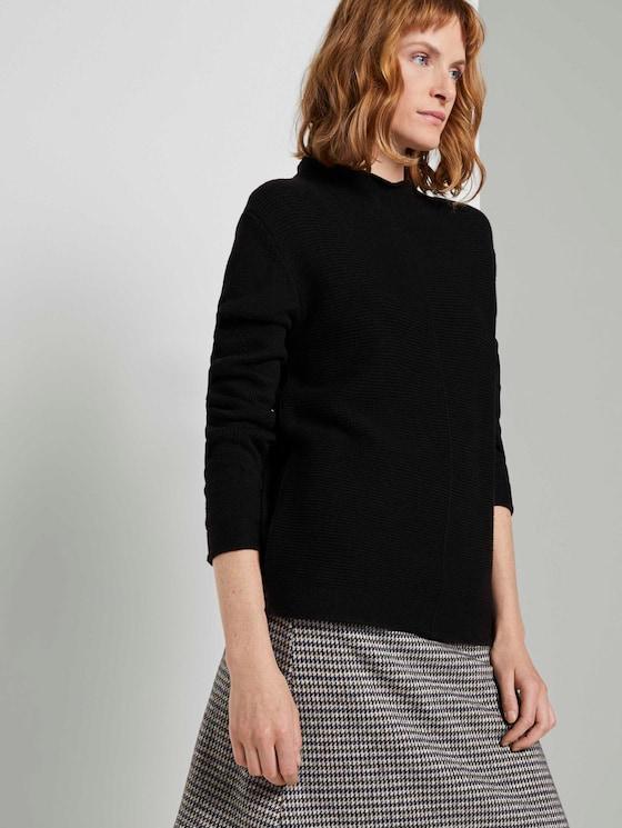 Strukturierter Pullover - Frauen - Deep Black - 5 - TOM TAILOR