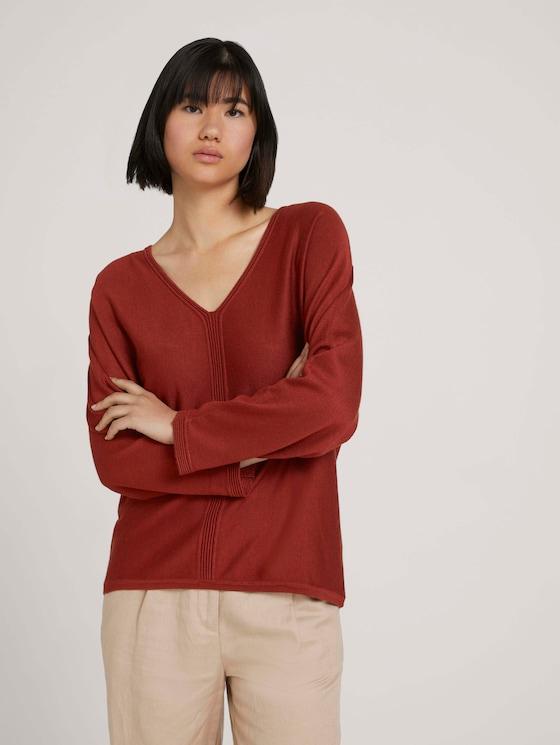 Loose Fit-trui met LENZING™ ECOVERO™ - Vrouwen - dark maroon red - 5 - TOM TAILOR